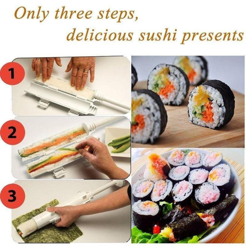 Set Japanese Roll Sushi Maker Rice Mold Kitchen Tools Sushi Maker  Baking Sushi Maker Kit Rice Roll Mold