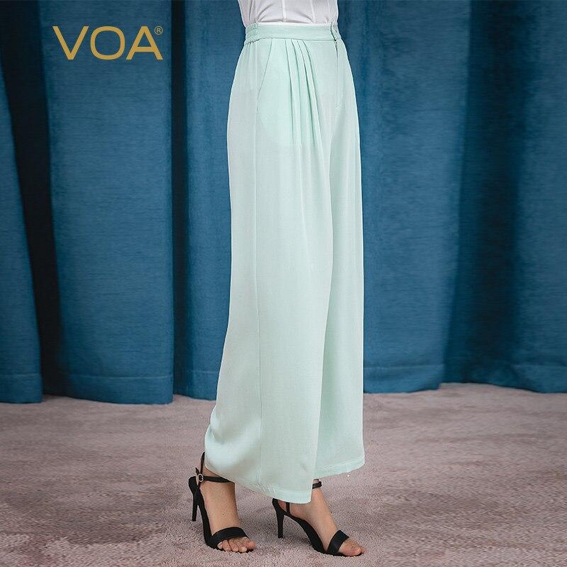 VOA Mint Green Heavy Silk 30m With White Edges Elastic Middle Waist Oblique Pocket Pleat Maka Long Kuan Leg Pants K1058