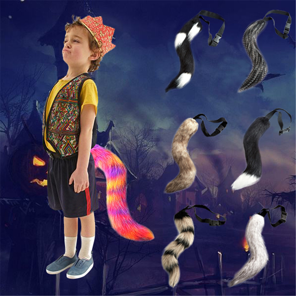 """Fursuit Cosplay Halloween Costume 24/"""" Quality Faux Fur Animal Wolf Dog Tail"""