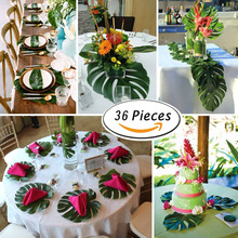 36pcs Artificial Monstera Plants Tropical Palm Tree Leaves Home Garden Decoration Accessories Photography Decorative