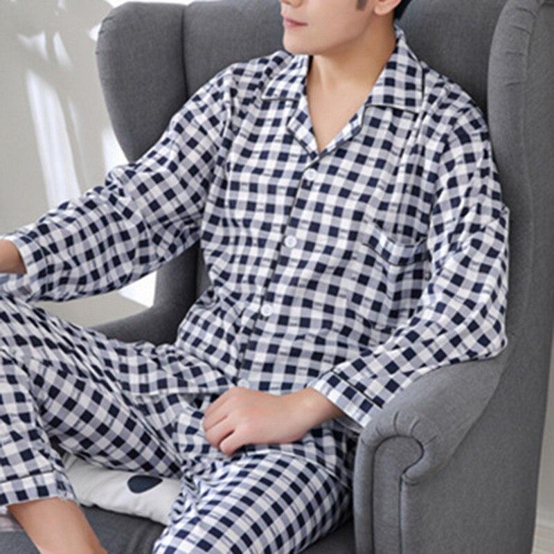 Men Pyjama Set Cotton Spring Long Sleeve Print Pajama Suits Autumn Nightwear Turndown Collar Pijama Sleepwear Male Two Piece 3XL