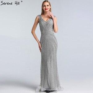Image 5 - Dubai Grey Luxury Mermaid Design Prom Dresses V Neck Crystal  Beading Sexy Formal Gowns 2020 Serene Hill BLA60916