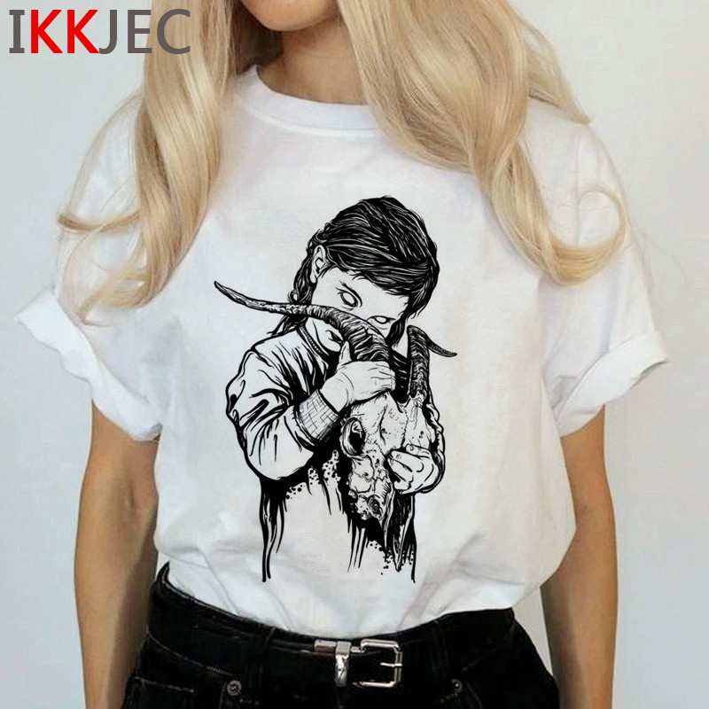 Satan Demon Death Scary Evil T Shirts Women Satanism T-shirt Grim Reaper Baphomet Satanist Horror Tshirt Hip Hop Top Tees Female 27