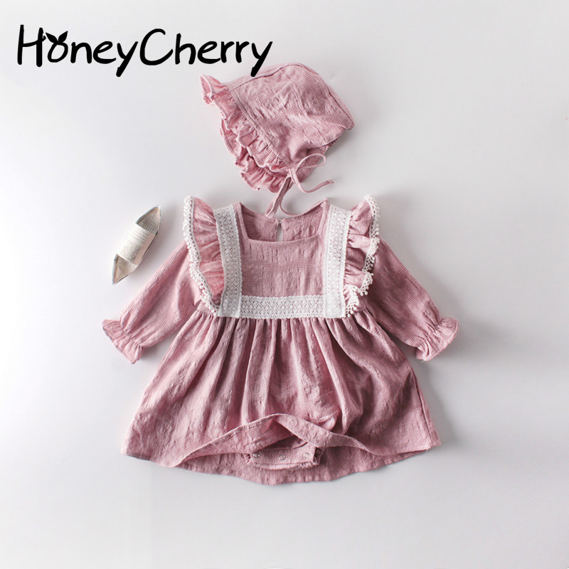 Autumn Baby Girl Romper Girl Dress Lace Long Sleeve Triangular Dress Hammer Skirt Climbing Clothes Toddler Romper With Ruffles