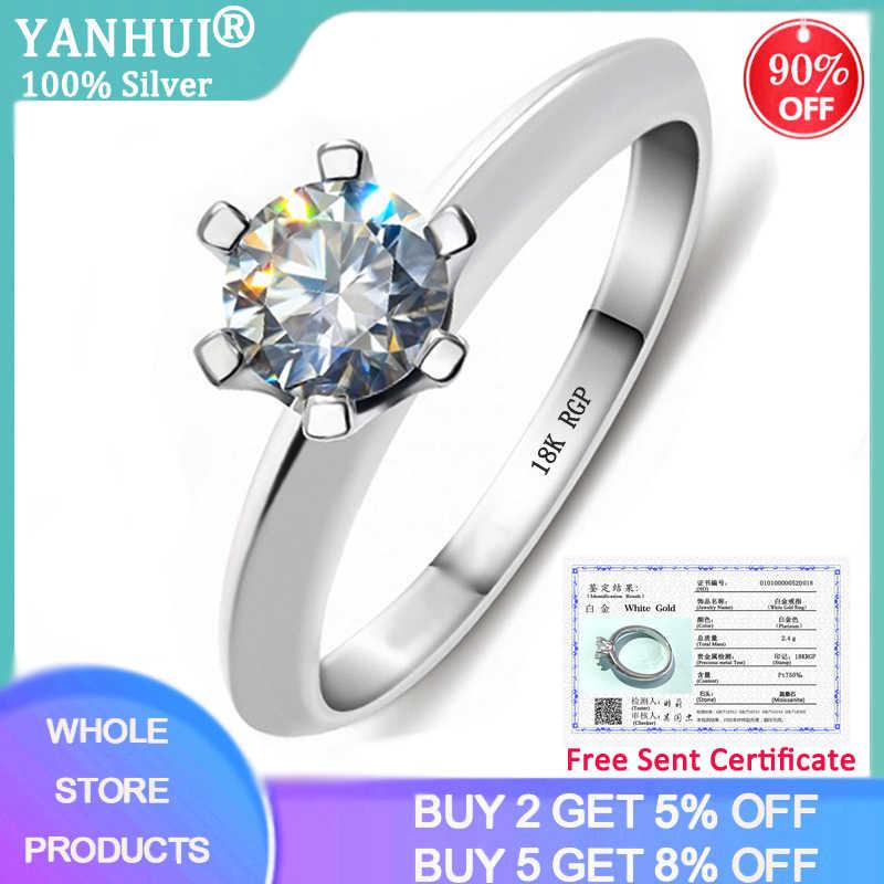 YANHUI Mit Zertifikat 925 Silber Ring Solitaire 1 Karat Zirkonia Diamant Ringe Reine 18K Gold Pt Hochzeit Band Frauen geschenk R018
