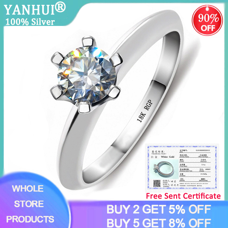 YANHUI With Certificate 925 Silver Ring Solitaire 1 Carat Zirconia Diamond Rings Pure 18K Gold Pt Wedding Band Women Gift R018(China)
