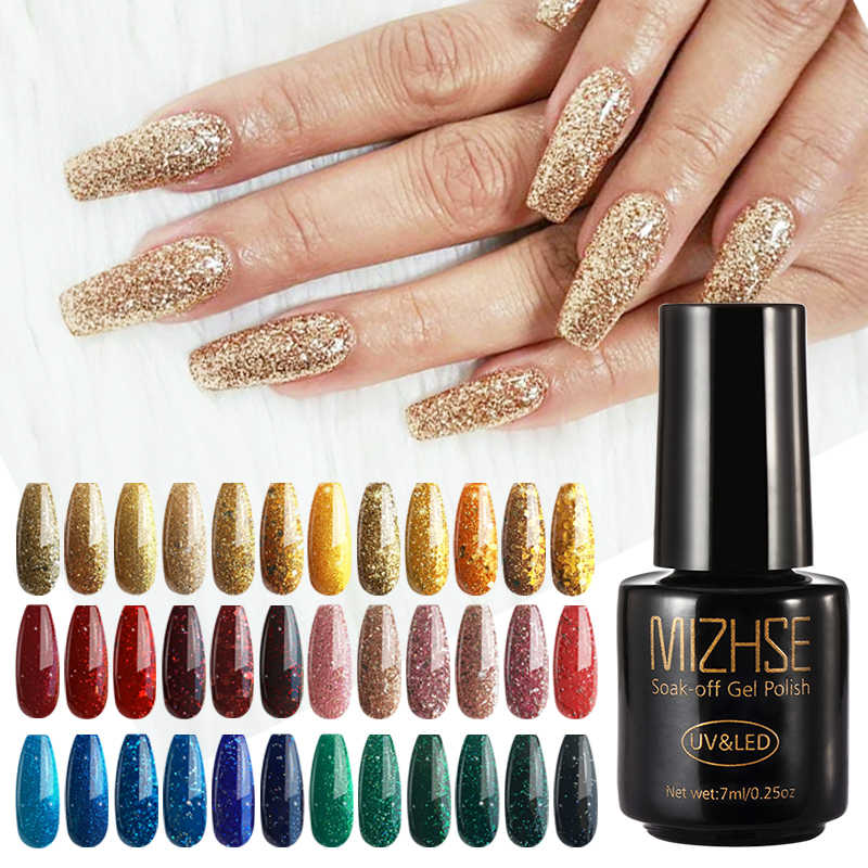 Mizhse Gel Nail Polish 7 Ml Bersinar Glitter Gel Bling Lampu Diamond Kuku Polish Rendam Off Uv Gel Nail seni Gel Lenyap Base Top