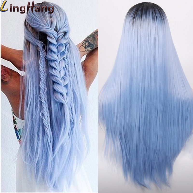 Linghang Synthetic Wigs Can-Be-Cosplay-Wigs Black Pink Straight Blue Long Ombre 11-Color