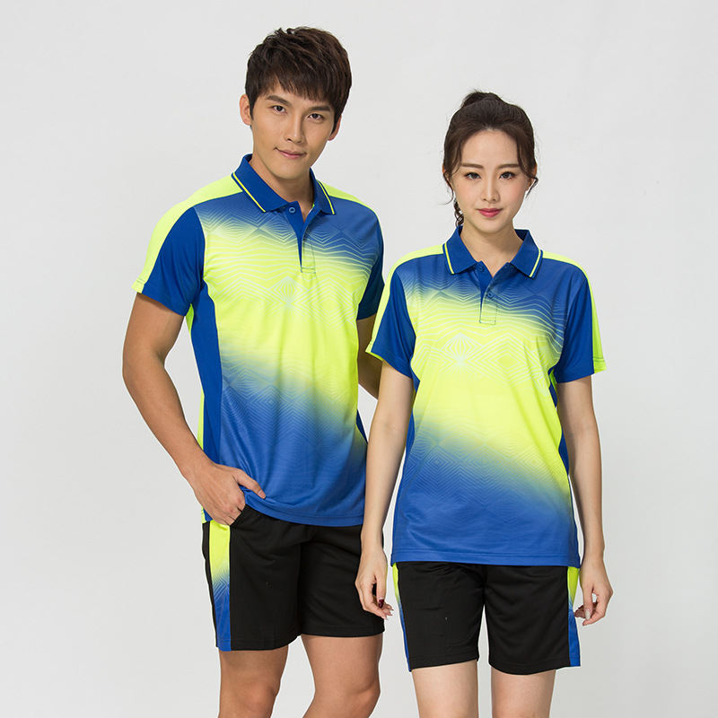 Suit T-Shirt Clothing Shuttlecock Short-Sleeved Volleyball Fold-Down-Collar Group Leisure