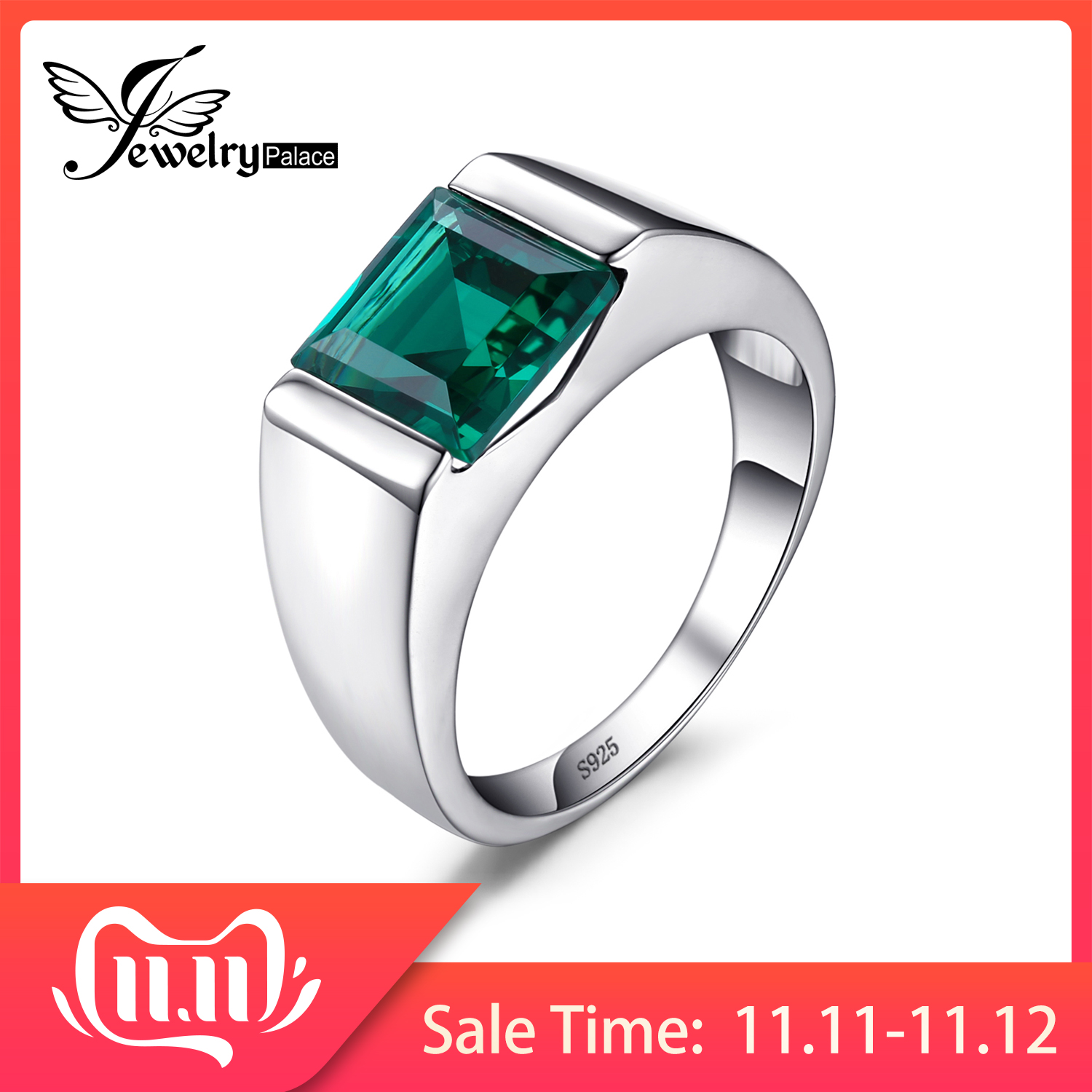 JewPalace Simulated Nano Emerald Ring 925 Sterling Silver Rings For Men Wedding Rings Silver 925 Gemstones Jewelry Fine Jewelry