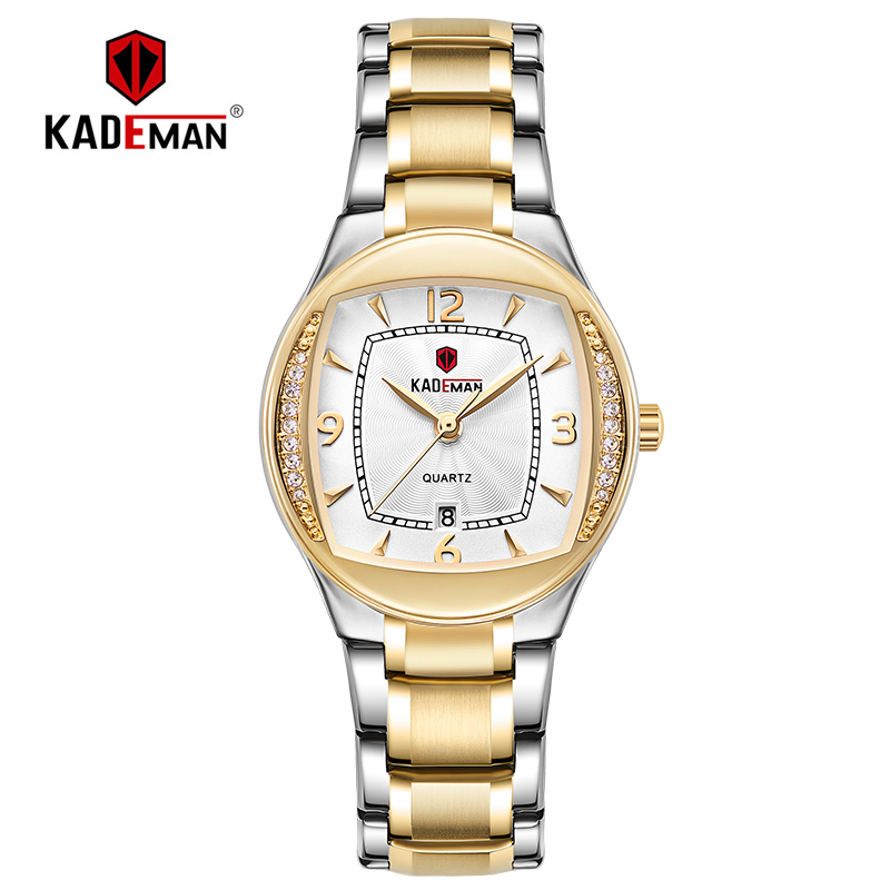 TOP Brand Fashion Women Clock New Luxury Ladies Wristwatch Full Steel Crystal Dress Watches KADEMAN 3ATM Bracelet Elegant Female