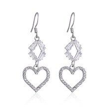Korean Heart Unique Crystal Earrings Fashion Jewelry 2020 Geometric Trendy Rhinestone Drop Earrings For Women graceful rhinestone geometric drop earrings