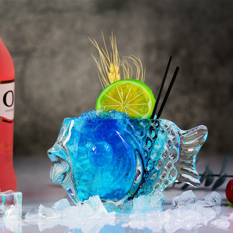 190ml Mermaid Wine Glass The Fish Cup Originality Cocktail Mug Brandy Thickening Beer Cocktail Vessel Personality Bar Decoration