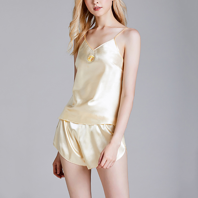 2020 New Pjamas Set Silky Sexy V-Neck Women\'s Pajamas Summer Thin Sling Shorts Solid Color Two Piece Set Home Wear