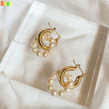 Kshmir freshwater pearl earrings simple retro temperament round