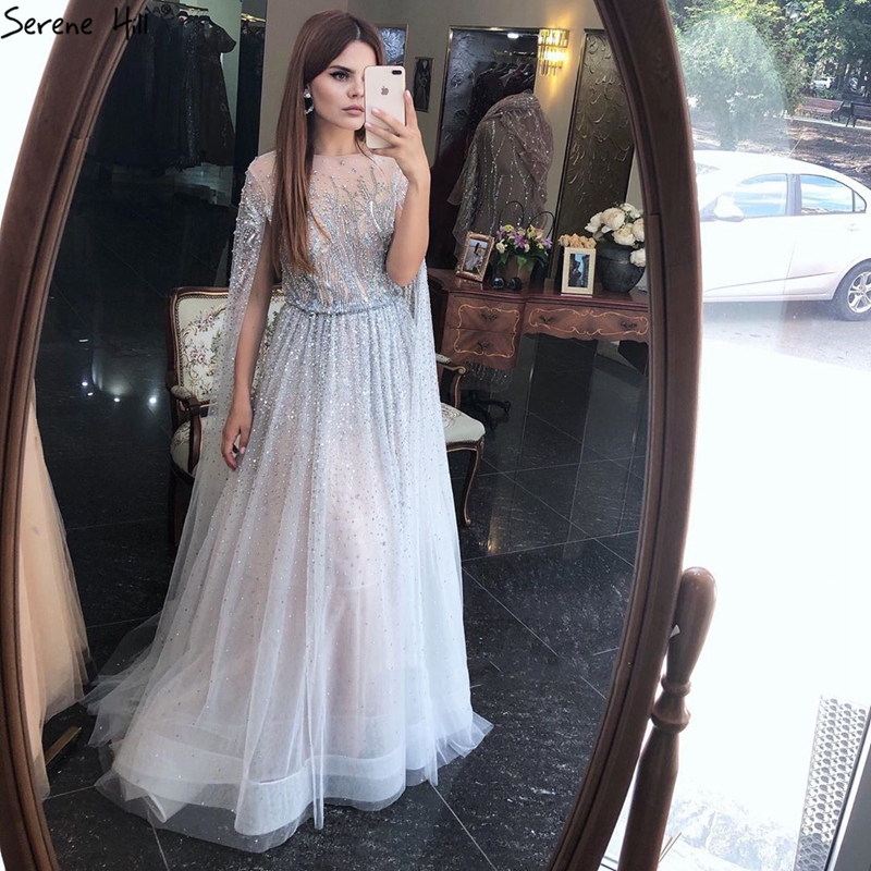 Sliver Arabic Luxury Beading Cape Sleeves  A Line Evening Dresses 2021 O Neck A Line Sexy Evening Gowns cerene Hill LA60869