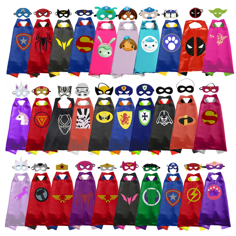 2019 Superhero Capes With Masks For Kids Birthday Party Supplies Party Favor Halloween Costumes Dress Up Girls Boys Cosplay