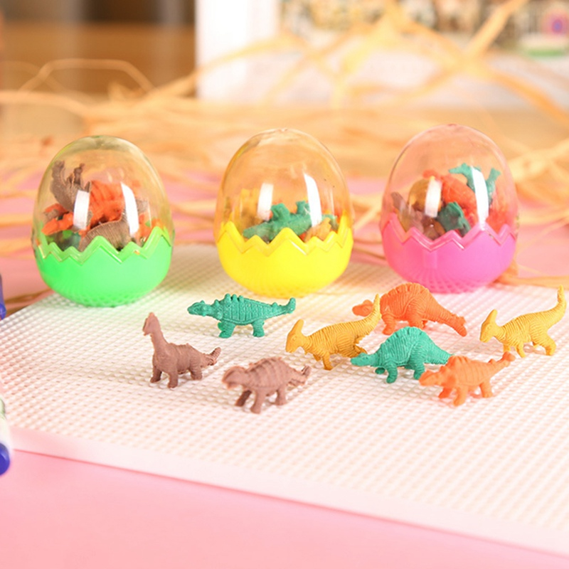 24pcs/lot Cute Dinosaur Egg Eraser Kawaii  Rubber Eraser For Kids Girls Gift Cartoon Correction Supplies Stationery Random Color