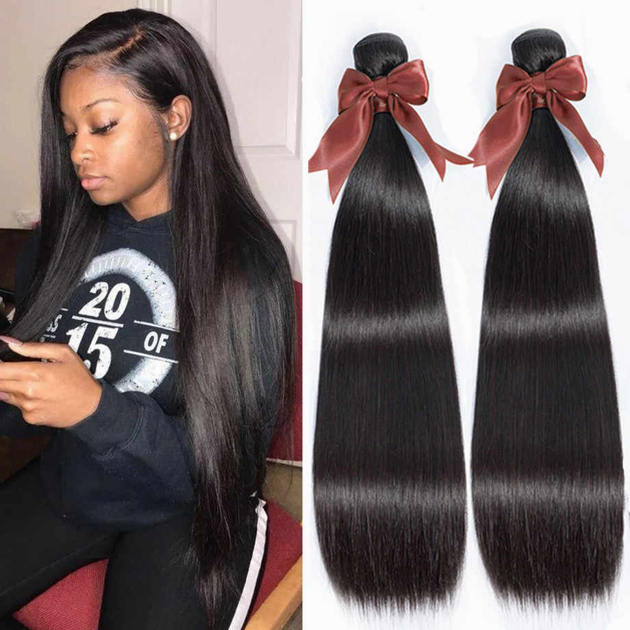Bling Hair 8-30 Inch Brazilian Straight Hair Weave Bundles 100% Remy Human Hair Extensions Double Weft Natural Color 1/5/10 pcs