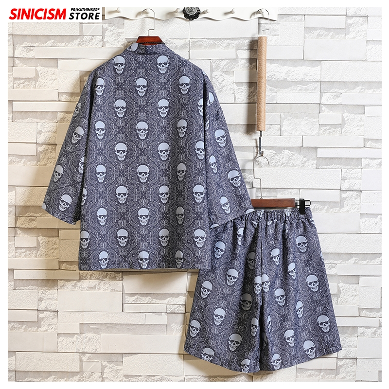 Sinicism Store Men 2020 Summer Loose Tracksuit Mens Casual Tshirt Short Thin Suit Sets Male Fashion Chinese Style Print Clothing