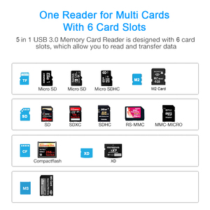 Image 5 - Rocketek same time read 5 card usb 3.0 Type c memory card reader adapter for micro SD/TF CF MS XD compact flash microsd computer