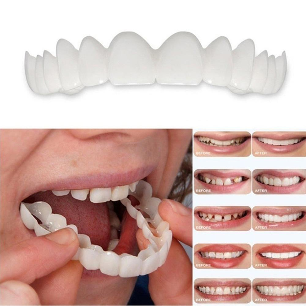 Smile Denture Fit Flex Cosmetic Teeth Comfortable Veneer Cover Teeth Whitening Snap On Smile Teeth Cosmetic Denture