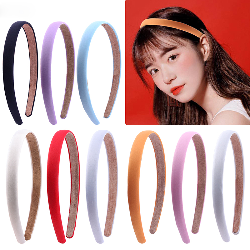 1.5cm High Elastic Satin Covered Headbands Satin Headband For Women Girls DIY Ribbon Hairband Solid Bezel Hair Accessories Tiara