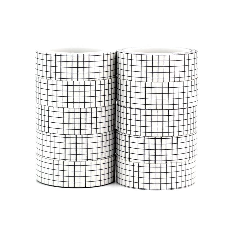 10pcs/lot Decorative Black And White Grid Washi Tapes Paper DIY Scrapbooking Planner Adhesive Masking Tapes Kawaii Stationery