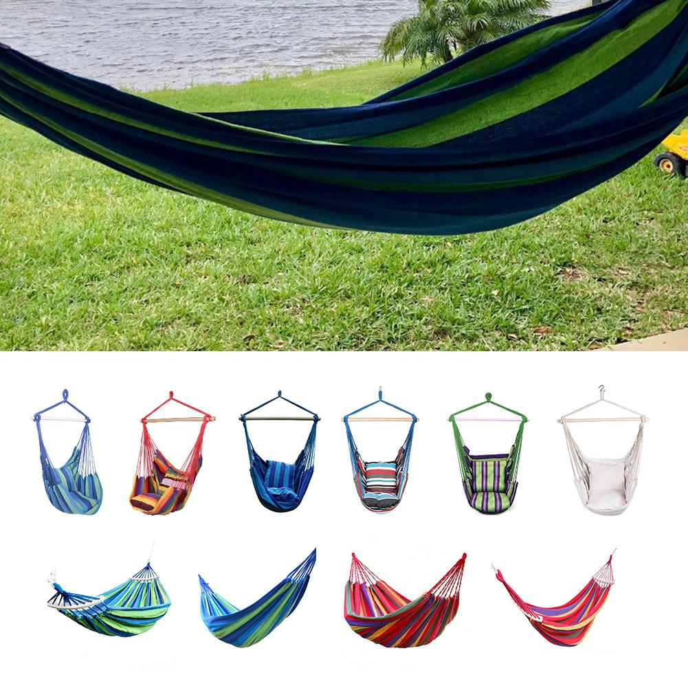 Double Thick Canvas Hammock Portable Outdoor Hanging Rope Striped Hanging Chair Travel Camping Hanging Swing Lazy Chair Hammocks
