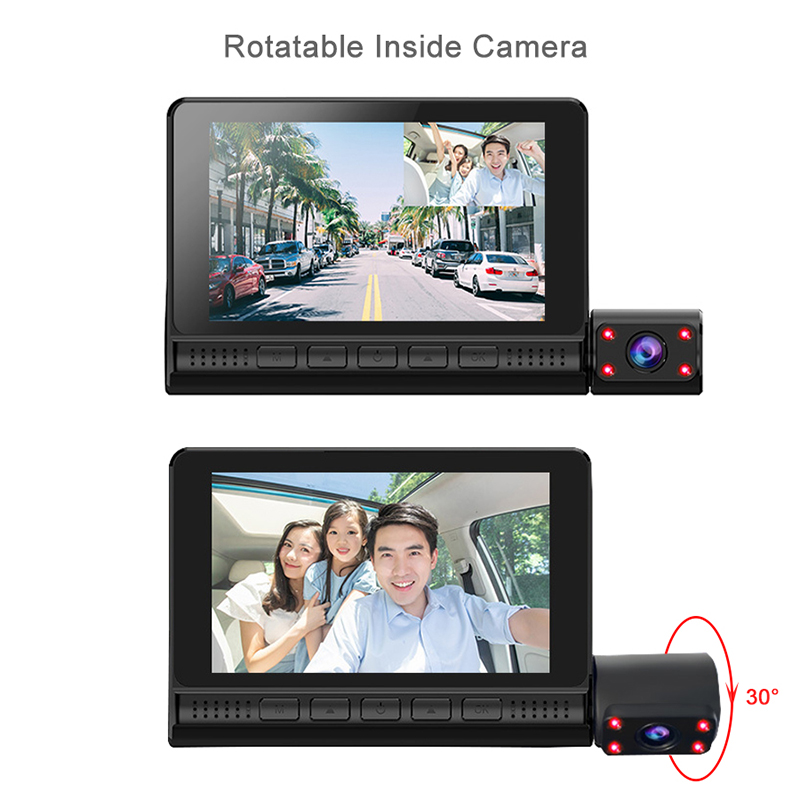 "4"" LCD Dash Cam Car DVR 24h Parking Monitor 1080P Night Vision Dashcam Auto Video Recorder with 720P Rear Camera 3 Lens G-Sensor 4"