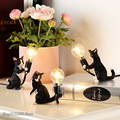 Животные настольная лампа скандинавские Детские спальные смоляные кошачьи настольные световые барные Настольные светильники домашний де...