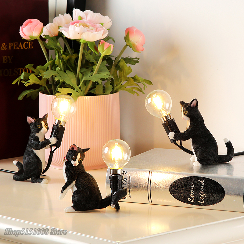 Animals Table Lamp Nordic Children's Bedroom Resin Cat Table Light  Bar Table Light Home Decor Night Light Lighting Fixtures