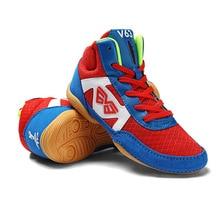 Детская тренировочная обувь для борьбы, студенческие Нескользящие кроссовки на шнуровке, боксерская обувь для детей, тренировочная обувь для бокса D0879