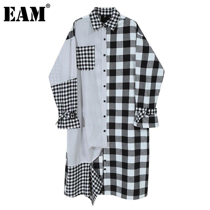 [EAM]-vestido negro a cuadros para mujer, vestido con solapa nueva, manga larga, corte holgado, moda, Primavera, Otoño, 2021, 1Z860