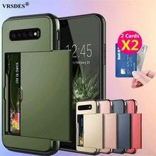 Slide Cover Wallet Card Slots Case For Samsung Galaxy S10 Plus S20 S9 S8 Note 20 Ultra 10 Plus 5G 9 8 S10e S7 S6 Edge Plus Funda