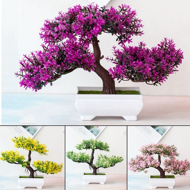 Artificial Plants Pine Bonsai Small Tree Pot Plants Fake Flowers Potted Ornaments For Home Decoration Hotel Garden Decor 5