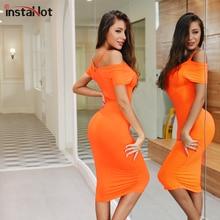 InstaHot Orange Criss-Cross Backless Midi Dress Short Sleeve Slim Bodycon Off The Shoulder Elegant Casual Mid-Calf Party Dresses