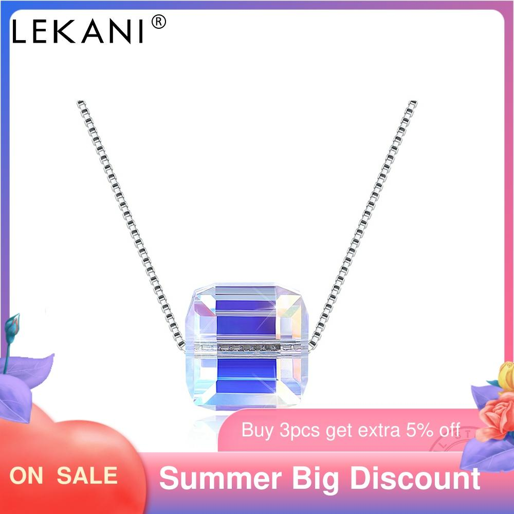 LEKANI S925 Sterling Silver Necklace Crystal From Austria Trendy Square Sugar Pendant Necklace Fine Jewelry Women Gifts Hot Sale