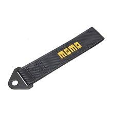 Carbon fiber cloth Trailer Tow Rope Belt for MOMO emblem Car Front bumper RACING decoration for BMW Honda Audi accessories цена