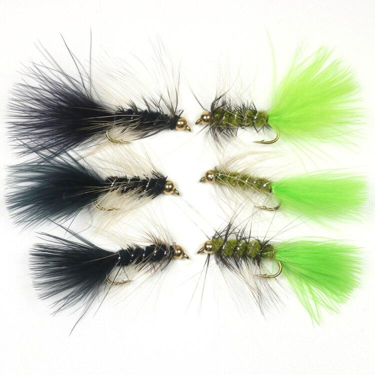 10pcs//pack Olive Wooly Bugger Flies Bead Head Nymph Flies Sinking Wet Flies