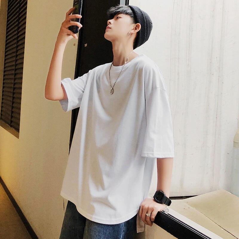 De manga curta T-shirt masculina maré edição han gola redonda solta meia manga verão puro cor da camisa dos homens vestido UMA nova tendência