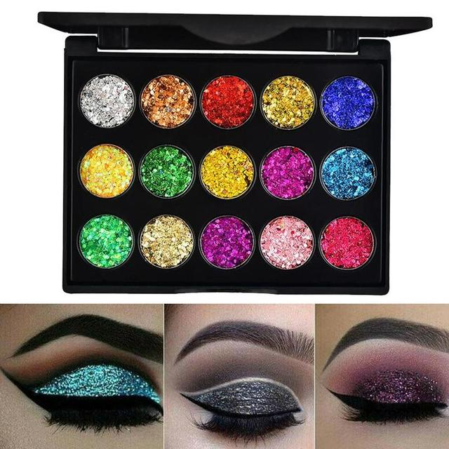 15 Colors Glitter Eyeshadow Makeup Pallete Matte Eye Shadow Palette Shine Diamond Eyeshadow Powder Pigment Kit 1