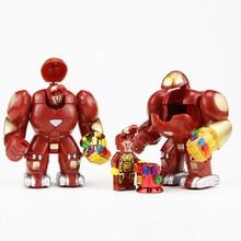 цена на Single Sale Super Heroes Iron Man Hulkbuster Figures Building Blocks DIY Gem Gloves Ironman Thanos Model Brick Toys For Children