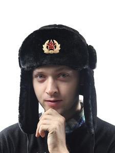 Bomber Hats Trooper-Hat Snow-Caps Earflap Pilot Faux-Rabbit-Fur Soviet Army Trapper Military