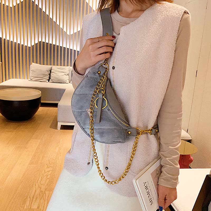 Women Fanny Pack Chain Shoulder Bag Plush Shoulder Slung Female Bag Luxury Brand Waist Bag Leather Waist Pack Walle