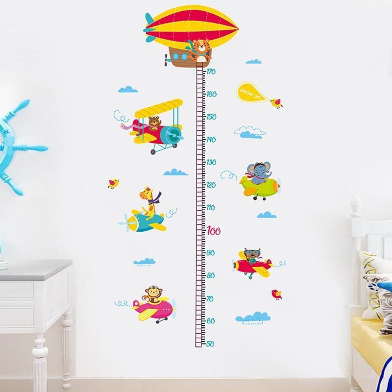 2шт животные самолет Мультфильм Высота линейка настенные наклейки для детского сада наклейки - 5