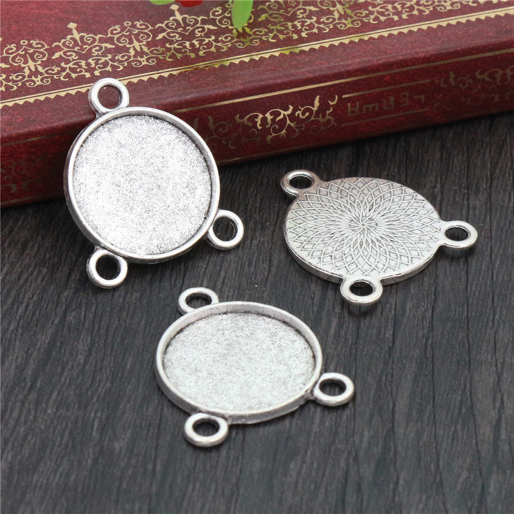 10pcs 20mm Inner Size Antique Silver Plated Colors Three Loop Style Cabochon Base Setting Charms Pendant (D1-16)