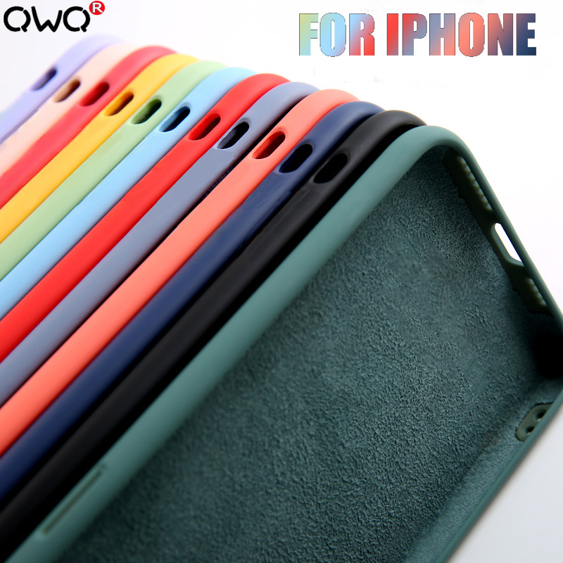 Funda de lujo de silicona líquida Original para carcasa Apple iPhone 11 12 Pro Max mini 7 8 6 6S Plus XR X XS MAX 5 5S SE 2020 funda trasera a prueba de golpes Fundas