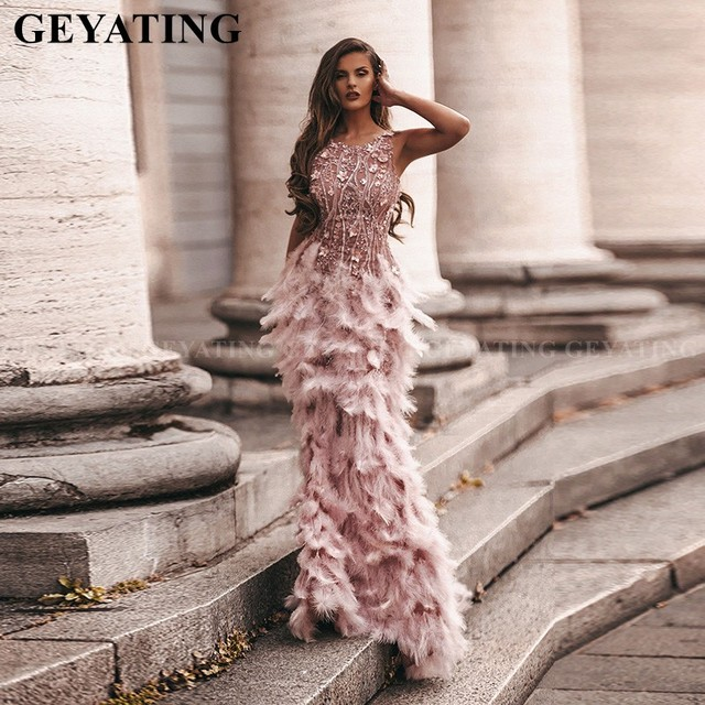 Arabic Pink 3D Floral Mermaid Feathers Prom Dresses 2k20 Long African Evening Gowns Semi Formal Gala Dress Graduation Party Gown 1