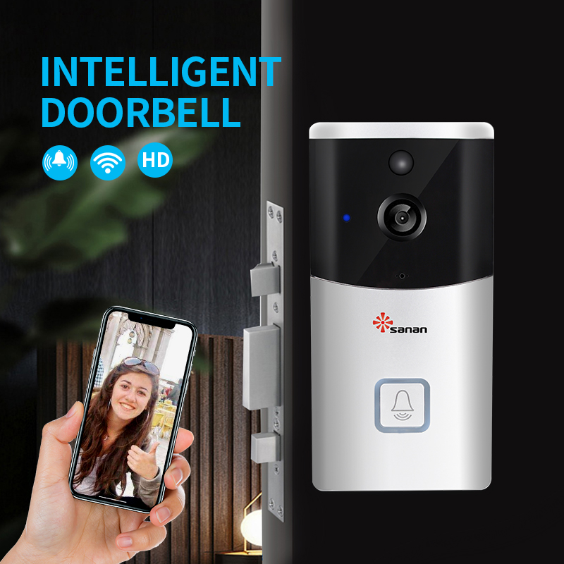 Sanan HD 2MP WIFI Visual Doorbell Wireless Intercom Doorbell Camera PIR Motion Detection Night View Video Smart Doorbell Ring